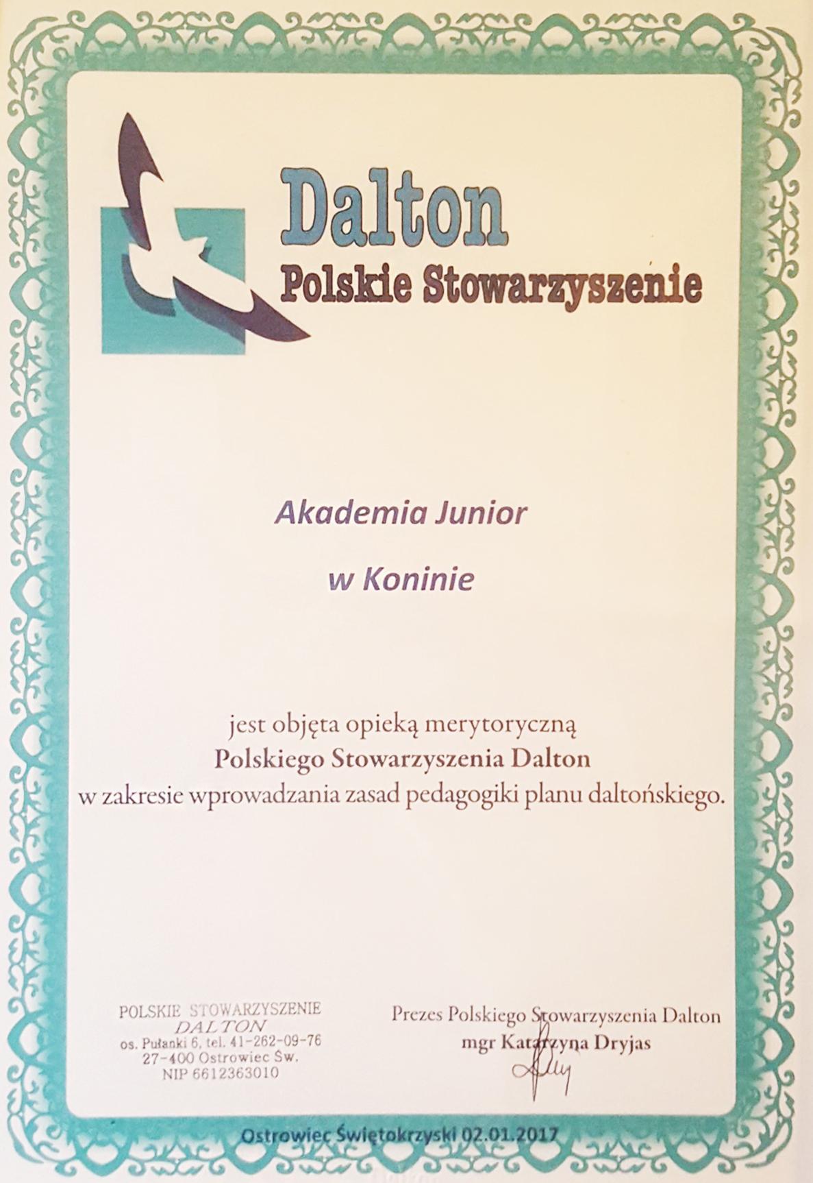 dalton-polskie-stowarzyszenie-akademia-junior-certydikat